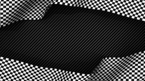 Race finish chequered flag on carbon background. 3d render Royalty Free Stock Photo