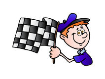 Race flag. An illustration of chequered winning flag; Man with race flag on finish over isolated back ground Royalty Free Stock Photography