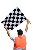 Race flag. Man with race flag on finish Stock Photography