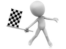 Race flag. Little 3d man flagging a winner with a checkered race flag, white background, concept of winning a competition Stock Photos