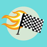 Race flag with flame from the left side. Flat design Stock Photos