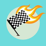 Race flag with flame from the right side. Flat design Royalty Free Stock Photography