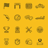 Race flag and line racing icons Royalty Free Stock Images