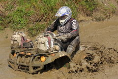 Race four-wheeler rider Stock Photo