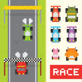 Race game objects in pixel art style. Race game isolated vector objects in pixel art style Stock Photography
