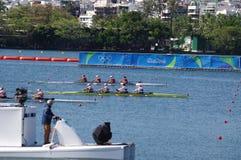 Race for gold in women's quadruple sculls in Rio2016 Stock Photo