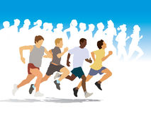 The Race. Group of four young people running in the race Stock Image