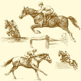 Race horse. Hand drawn set Stock Images