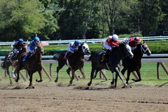 Race horses and jockeys at the track Stock Photos