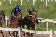 Race Horses Jockeys Training Royalty Free Stock Photos
