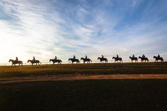 Race Horses Riders Landscape Royalty Free Stock Photo