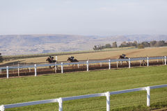 Race Horses Riders Training. Race Horses jockey riders morning training track landscape Royalty Free Stock Photography