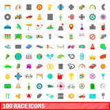 100 race icons set, cartoon style. 100 race icons set in cartoon style for any design vector illustration Stock Photo