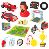 Race icons set, cartoon style. Race icons set in cartoon style. Car racing set collection vector illustration Stock Photo