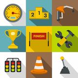 Race icons set, flat style. Race icons set. Flat illustration of 9 race vector icons for web Royalty Free Stock Photo