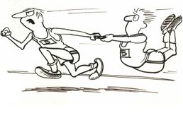 Race. Men are running a relay race Royalty Free Stock Image