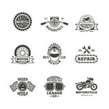 Race, motorcycle, motorbike repair vector retro labels, logo, badges and emblems. Motorbike service badge, illustration of label with motorbike Royalty Free Stock Photo