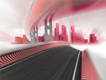 Race motorways leading to modern city in motion blur render Royalty Free Stock Images