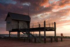 Race Office. At sunset on the Morecambe Bay Stock Photo