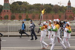 Race of the Olympic fire in Moscow Royalty Free Stock Photos