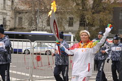 Race of the Olympic fire in Moscow Stock Image