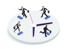 Race over time concept. Isometric businessmen running on a clock  on a white background. 3d businessmen running one after the other with briefcases. Vector Royalty Free Stock Images