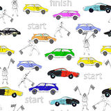 Race pattern. Seamless pattern of race cars and men with checkered flags vector and illustration stock illustration
