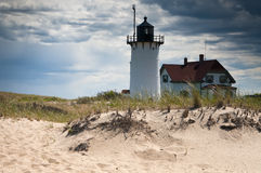 Race Point Lighthouse with Storm Clouds in Cape Cod Royalty Free Stock Image