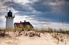 Race Point Lighthouse Before Storm in Provincetown Stock Image