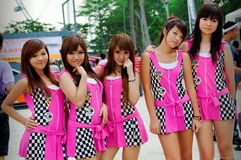Race queens posing at Formula Drift 2010 Royalty Free Stock Photography