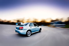 Race Rally Car. Moving Japanese performance rally race car stock images