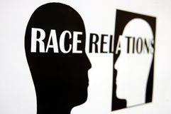 Race relations. Photo of a prinout of a concept of race relations Stock Image