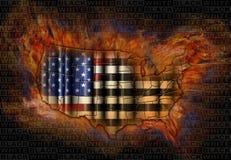 Race Relations Burning United States Flag and Map Stock Photo