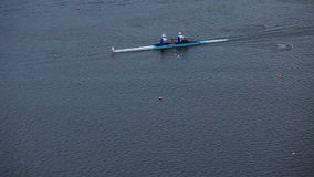 Race on rowing. Shooting from above stock video