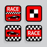 Race - set stickers square Stock Images