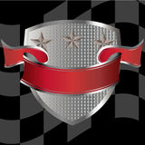 Race shield with red banner. Stars and checkered flag in background stock illustration