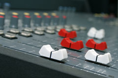 Race of the sliders. Studio at the radiostation Royalty Free Stock Photography