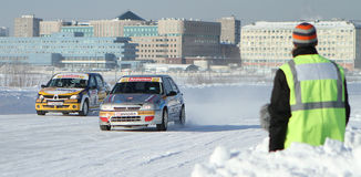 Race Stars on the ice road in Moscow Stock Image