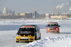 Race Stars on the ice road in Tushino Stock Photography