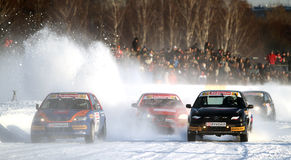 Race Stars on the ice road in Tushino Royalty Free Stock Photography