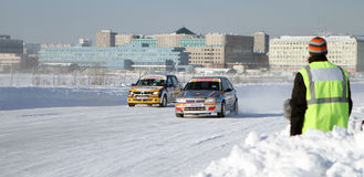 Race Stars Za rulyom on the ice road in Tushino Stock Photography