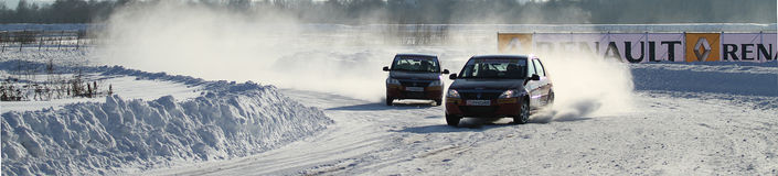 Race Stars Za rulyom on the ice road in Tushino Royalty Free Stock Image
