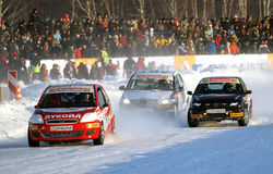 Race Stars Za rulyom on the ice road in Tushino Royalty Free Stock Photos