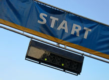 Race start line with timer. Hanging below Stock Image