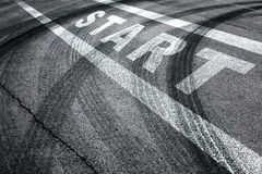 Race start line tire tracks pattern Royalty Free Stock Images