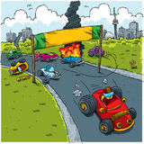 Race Start. Only one cartoon car successful at the start of a road race Stock Image
