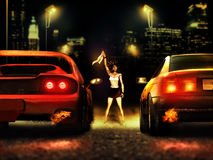 Race start. Woman on the middle of a road at night, close to the big city, and ready to launch the start of a car race royalty free illustration