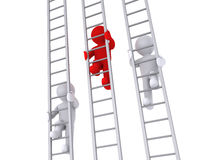 Race on three ladders. 3d people are climbing three ladders as a competition Royalty Free Stock Photography
