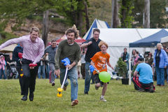 Race to finish. MARYSVILLE, VICTORIA, AUSTRALIA - November 2: A group of men and boys compete for first place in a hobby horse race at the Marysville Sparkling royalty free stock image