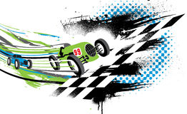 Race to the Finish Line. Abstract illustration of two vintage race cars going across the finish line Stock Photos